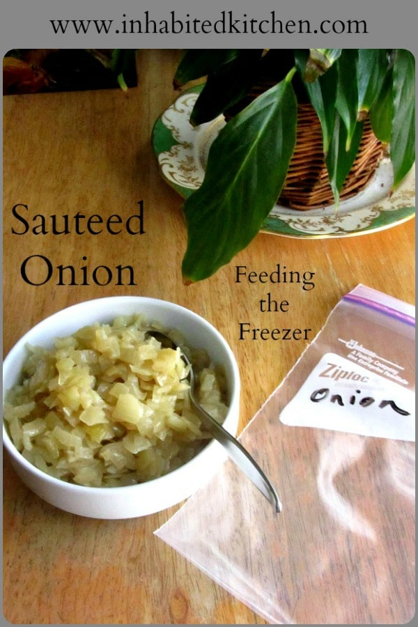 Settling in to a new house, I start to stock the pantry and freezer with conveninet food, such as sauteed onion.