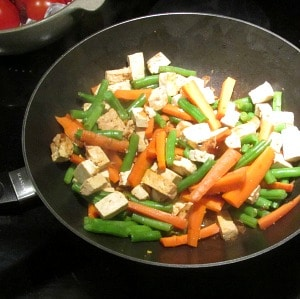 Tofu and Vegetables in pan, before adding shrimp
