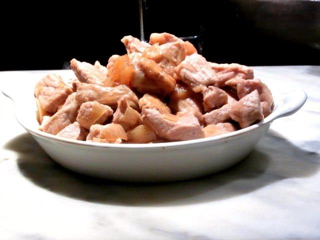 Pork with mushroom sauce.
