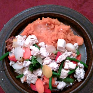 Dinner - tofu and turkey with mixed vegetables, served with mashed sweet potatoes