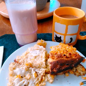 Cornbread and protein shake, with coffee, for breakfast.