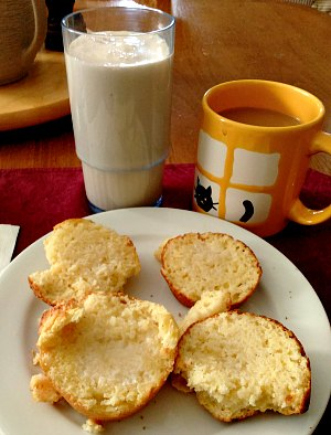 WIAW 189 - Breakfast - corn muffins and protein shake