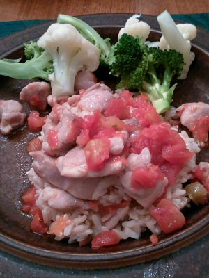 WIAW 189 - Dinner - Chicken in Rotel and cauliflower rice, broccoli
