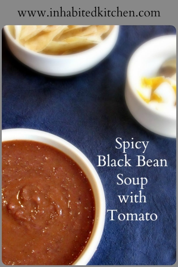 I make a spicy black bean soup with plenty of tomato! Great for lunch, or a cup of soup to start a meal, and it freezes and reheats beautifully. #blackbeans #beansoup