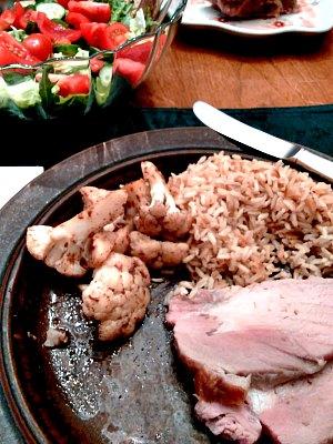 Dinner - roast pork, Masala Cauliflower, brown basmatirice