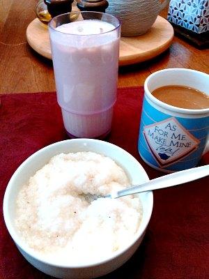 WIAW 195 - breakfast - shake, grits and coffee