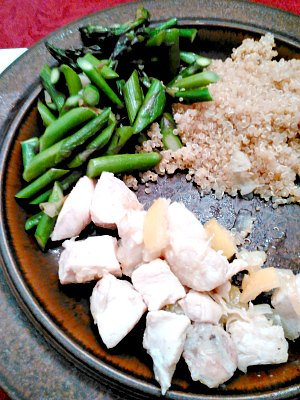 WIAW 195 - dinner - chicken with pickled lemon, asparagus, and quinoa