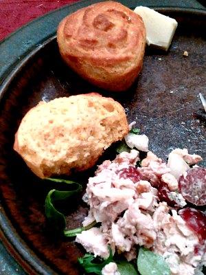 Dinner - chicken salad and corn muffins