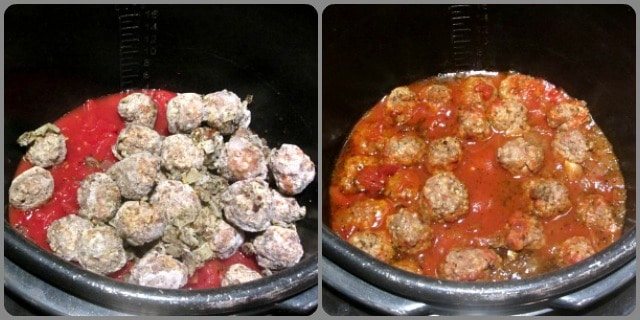 Meatballs in Tomato Sauce, before and after cooking in the pressure cooker