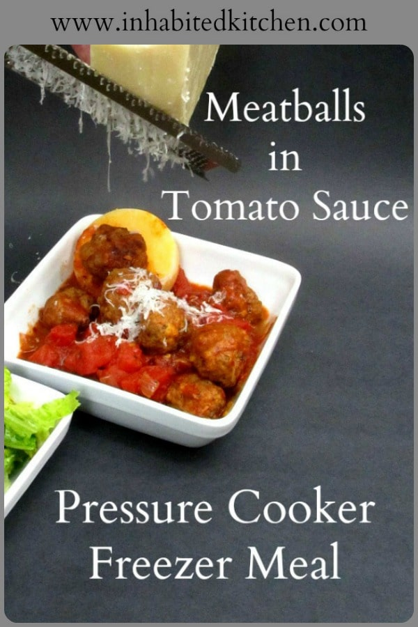 Freezer meals for the pressure cooker! Toss frozen Meatballs in Tomato Sauce into the pressure cooker, set and forget for an easy dinner.