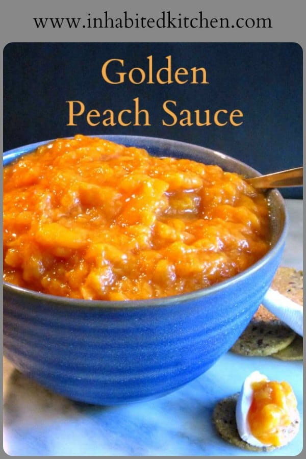 Golden Peach Sauce - just like applesauce, but made of peaches, no added sugar, and amazing! Easy to make, too, and much faster than jam!