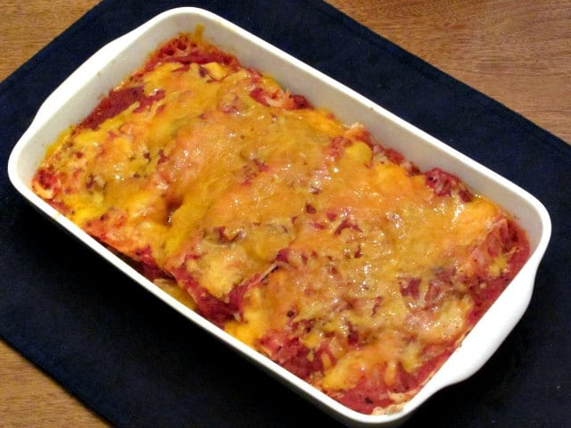 Baking Dish of Cheater's Enchiladas