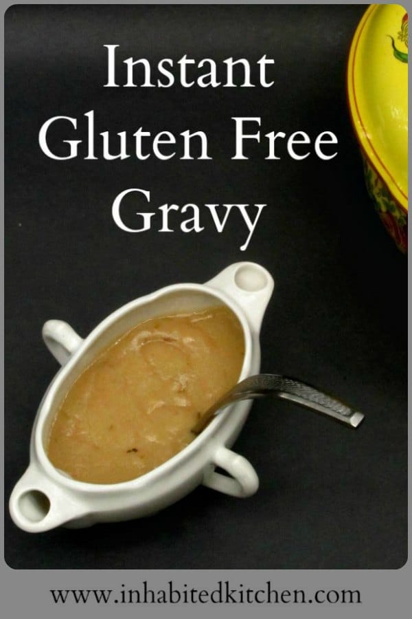 Make Instant Gluten Free Gravy in five minutes! All you need are Inhabited Kitchen's Gluten Free Roux Cubes, and a cup of flavorful broth.