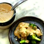 Super Simple Peanut Sauce poured over vegetables
