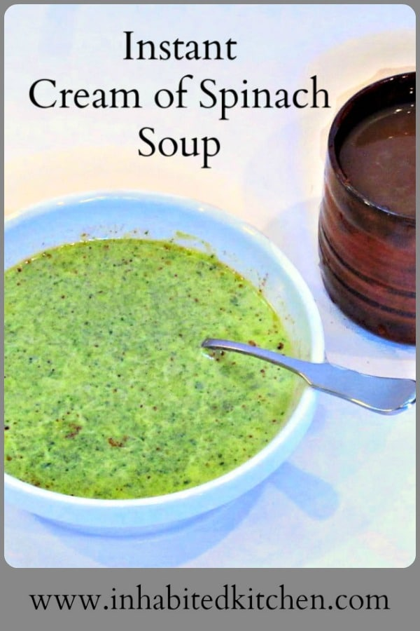 Instant soup doesn't have to come out of a can or box. You can make Instant Cream of Spinach Soup from scratch for a quick cup with lunch!