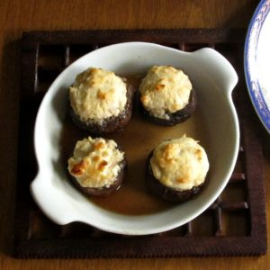 Cheese Stuffed Mushrooms in baking dish