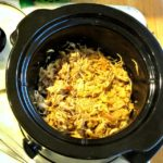 Slow cooker full of Shredded Chipotle Chicken