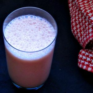 A glass of Strawberry Kefir Protein Shake.