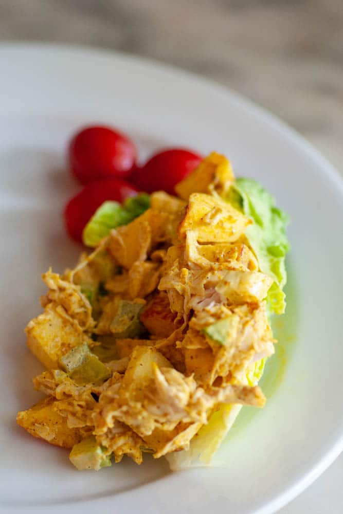 Our elderly parents enjoy this spicy sweet chicken salad - moist and easy to eat, with flavors they can taste, and crunch!